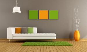 Salon dekorasyonunda turuncu ve yeşil kullanımı