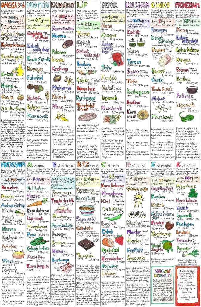 vegan beslenme tablosu