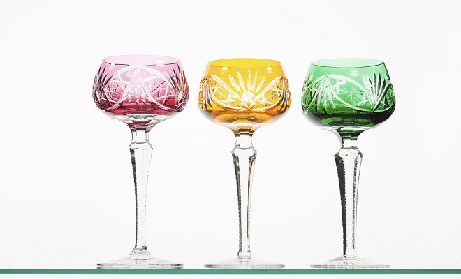 Red, green and yellow crystal wineglasses