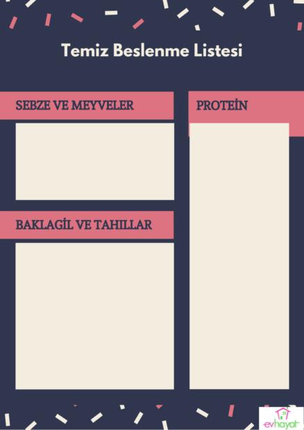 Temiz beslenme listesi örneği